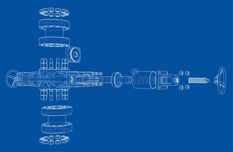 Ausblasenverhinderer Vektor-Wiedergabe von 3d vektor abbildung