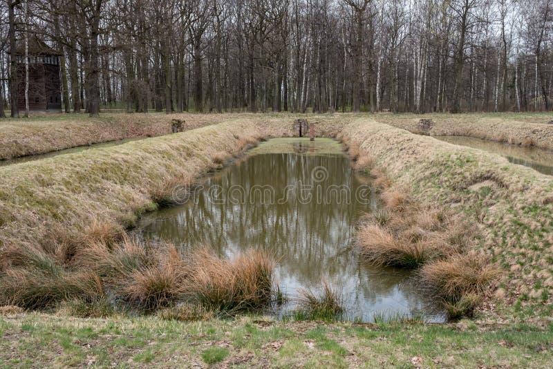 2 auschwitz阵营浓度纳粹波兰政权战争世界 从火葬场的灰在奥斯威辛比克瑙集中营被处理的站点 免版税图库摄影