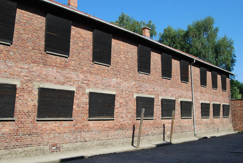 Auschwitz. I, look of KL in Oswiencim, Block 10-11 stock images