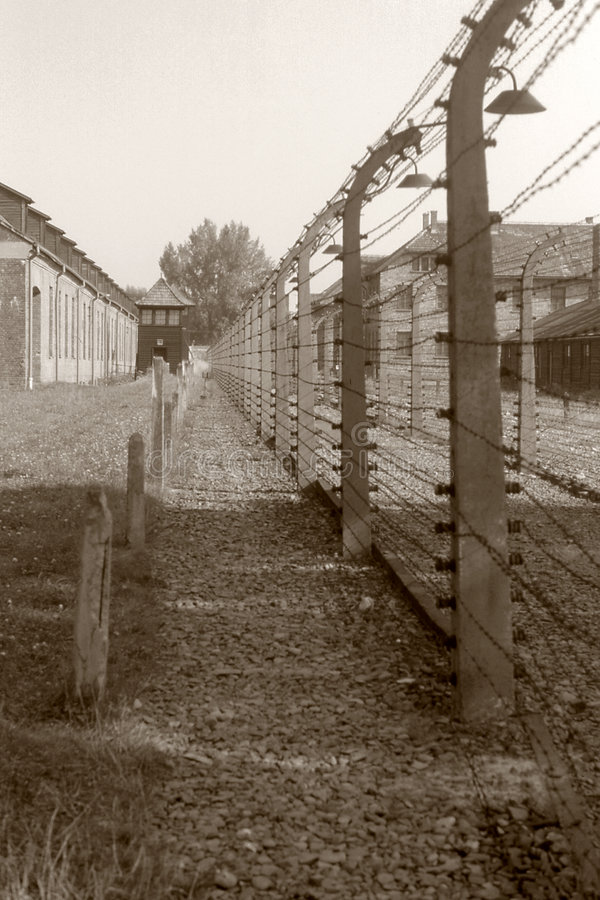 Auschwitz. Barbed Wire Fence, at concentration camp of auschwitz royalty free stock image