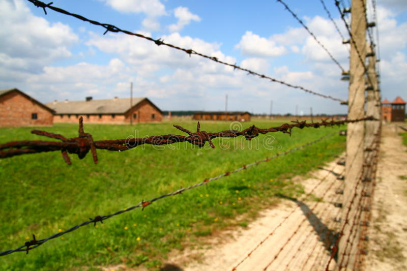 Auschwitz barbed wire fence royalty free stock photos