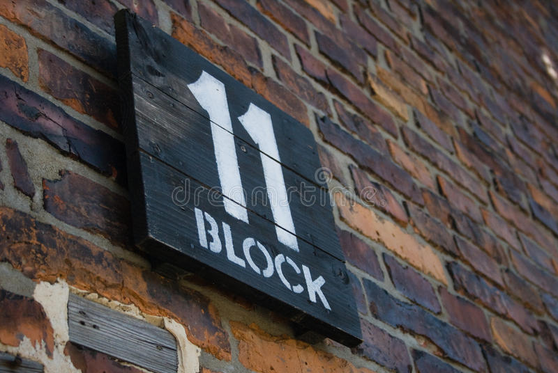 Auschwitz-Birkenau. Camp in Poland. Picture of the a sign indicating block 11 stock image