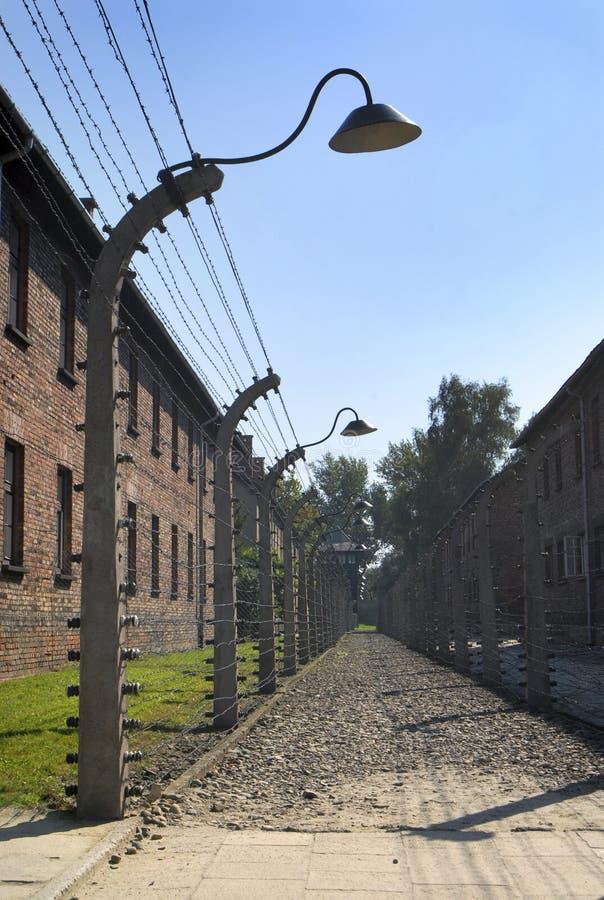 Auschwitz Birkenau. Double fence with wire in Auschwitz Birkenau royalty free stock images