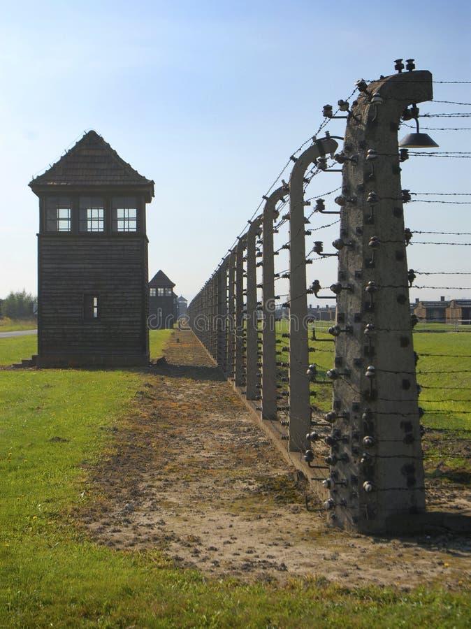 Auschwitz Birkenau. Fence, wire and a watchtower in Auschwitz Birkenau royalty free stock image