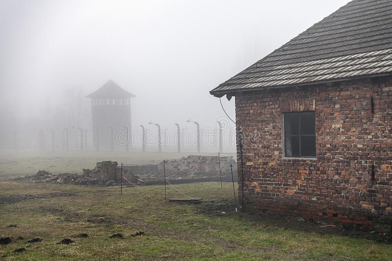 Auschwitz-Birkenau concentration camp. Death barrack. Jewish extermination camp. German death camp in Oswiecim, Poland. Auschwitz-Birkenau concentration camp royalty free stock image