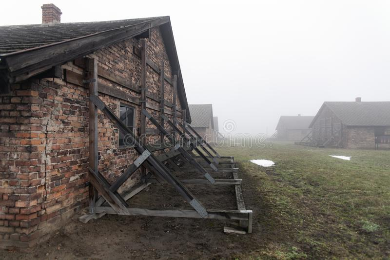 Auschwitz-Birkenau concentration camp. Death barrack. Jewish extermination camp. German death camp in Oswiecim, Poland. Auschwitz-Birkenau concentration camp stock photo