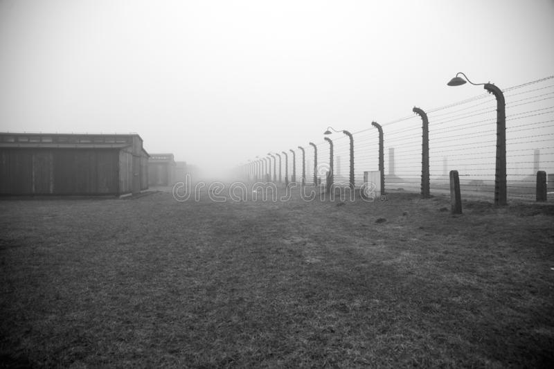 Auschwitz-Birkenau concentration camp. Death barrack. Jewish extermination camp. German death camp in OÅ›wiÄ™cim. Barbed wire. Auschwitz-Birkenau royalty free stock images