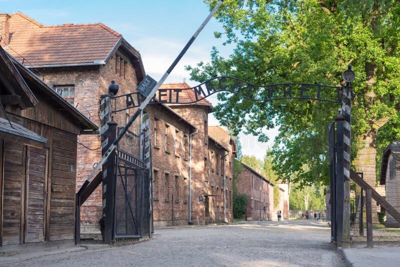 AUSCHWITZ-BIRKENAU CONCENTRATION CAMP, POLAND - JUNE, 2017: Arbeit macht frei in Auschwitz Poland during the holocaust.  stock photo