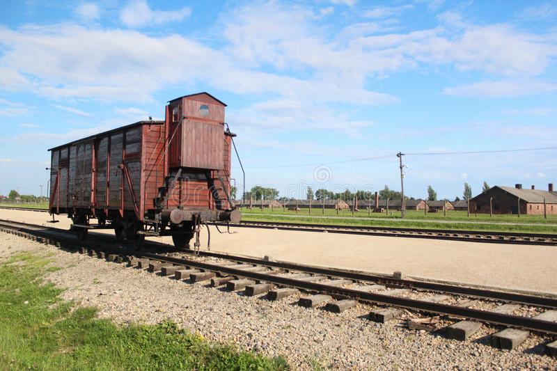 Auschwitz-Birkenau Concentration camp train. In Poland stock images