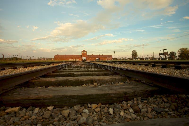 Auschwitz-Birkenau Concentration Camp. Train track arriving in Auschwitz Birkenau concentration camp stock photos