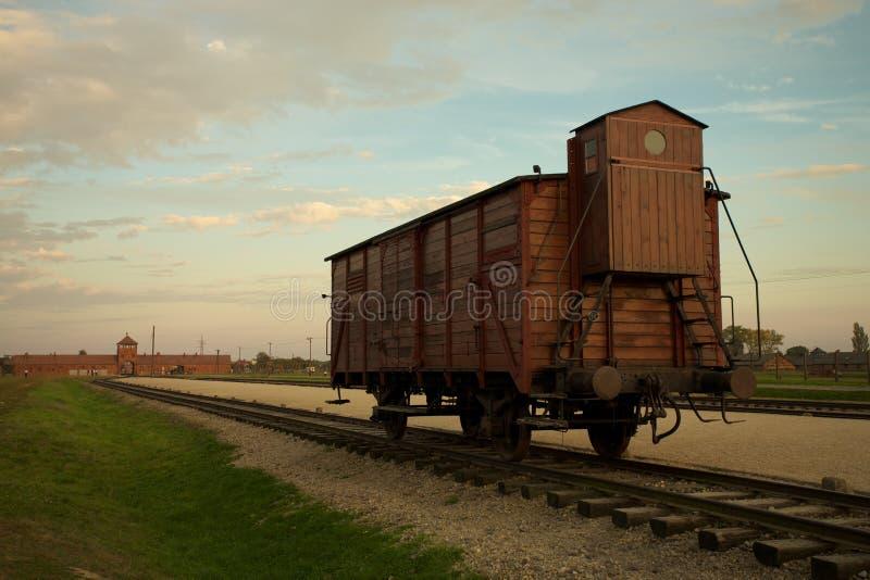 Auschwitz-Birkenau Concentration Camp. Train wagon in Auschwitz Birkenau concentration camp royalty free stock image