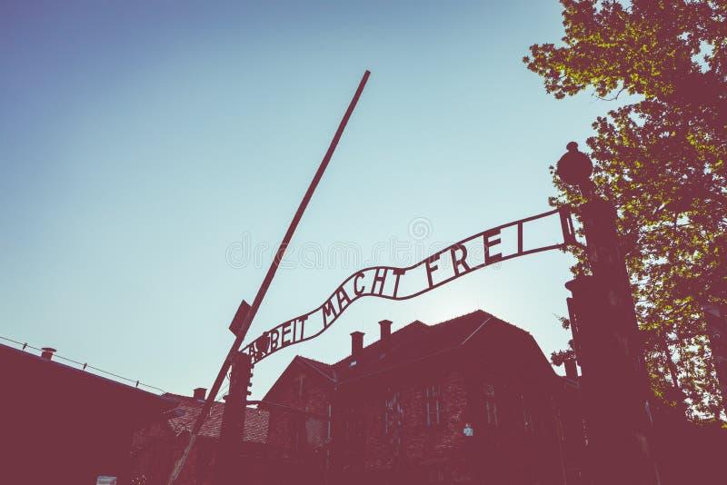 AUSCHWITZ-BIRKENAU, POLAND - AUGUST 12, 2019: Holocaust Memorial Museum. Part of Auschwitz- Birkenau Concentration Camp Holocaust. AUSCHWITZ-BIRKENAU, POLAND stock images