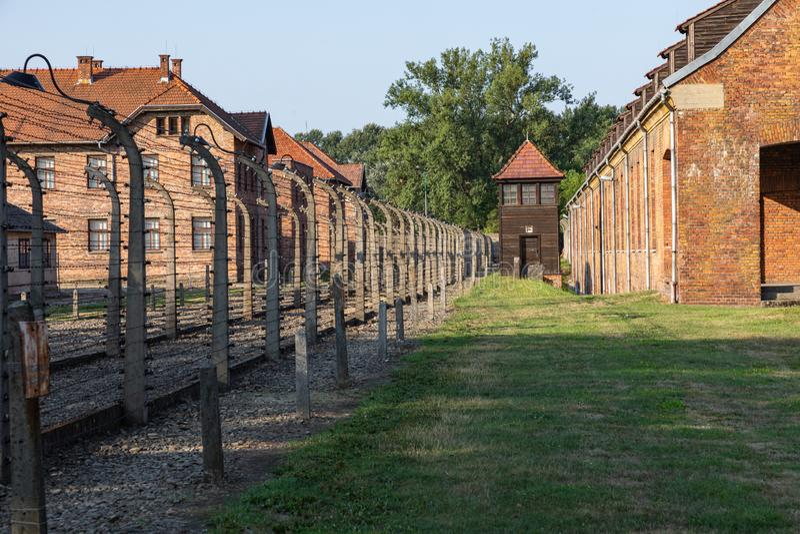 AUSCHWITZ-BIRKENAU, POLAND - AUGUST 12, 2019: Holocaust Memorial Museum. Part of Auschwitz- Birkenau Concentration Camp Holocaust stock image