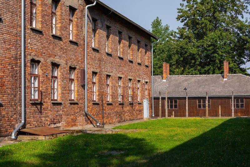 AUSCHWITZ-BIRKENAU, POLAND - AUGUST 12, 2019: Holocaust Memorial Museum. Part of Auschwitz- Birkenau Concentration Camp Holocaust. Memorial Museum. Jewish royalty free stock image