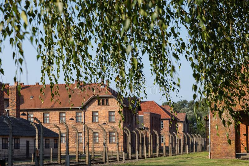AUSCHWITZ-BIRKENAU, POLAND - AUGUST 12, 2019: Holocaust Memorial Museum. Part of Auschwitz- Birkenau Concentration Camp Holocaust royalty free stock images