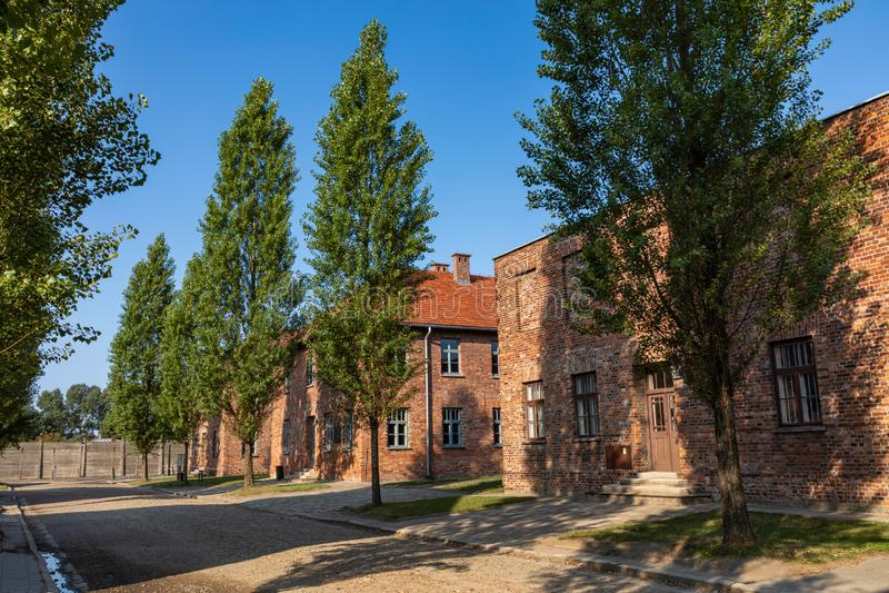 AUSCHWITZ-BIRKENAU, POLAND - AUGUST 12, 2019: Holocaust Memorial Museum. Part of Auschwitz- Birkenau Concentration Camp Holocaust. Memorial Museum. Jewish royalty free stock photos