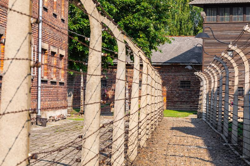 AUSCHWITZ-BIRKENAU, POLAND - AUGUST 12, 2019: Holocaust Memorial Museum. Separation barbed wire in prison camps. Part of Auschwitz. Birkenau Concentration Camp stock image