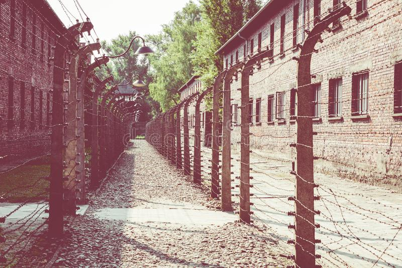 AUSCHWITZ-BIRKENAU, POLAND - AUGUST 12, 2019: Holocaust Memorial Museum. Separation barbed wire in prison camps. Part of Auschwitz. Birkenau Concentration Camp royalty free stock images