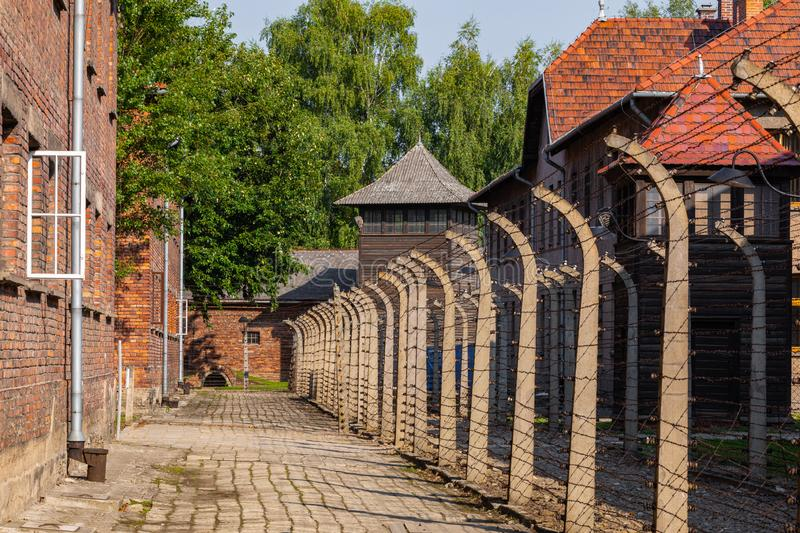 AUSCHWITZ-BIRKENAU, POLAND - AUGUST 12, 2019: Holocaust Memorial Museum. Separation barbed wire in prison camps. Part of Auschwitz. Birkenau Concentration Camp royalty free stock photos