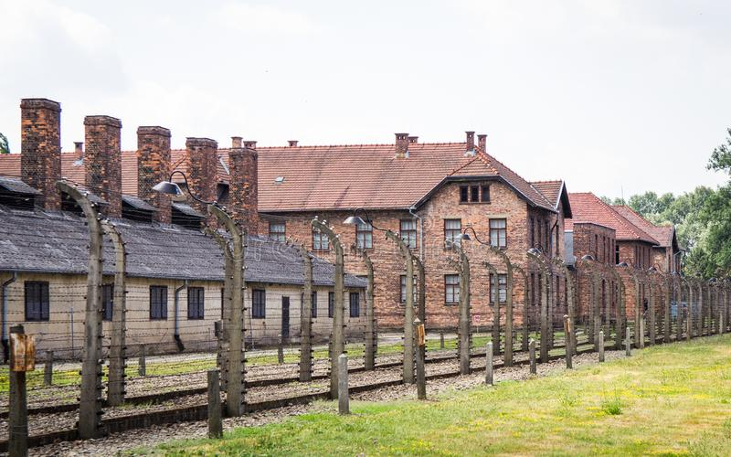 Auschwitz-Birkenau, Poland - June 27, 2019 German concentration camp Auschwitz. View of the block`s stock images