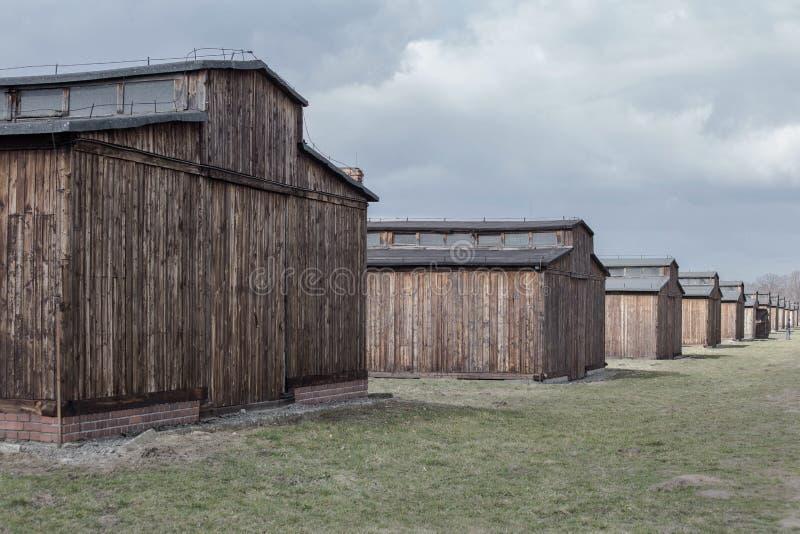 Auschwitz-Birkenau, Polen 12 Maart, het concentratiekamp van 2019 Doodsbarakken Joods uitroeiingskamp royalty-vrije stock fotografie