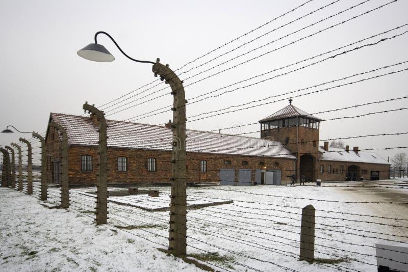 Auschwitz - Birkenau in Polland in inverno fotografia stock libera da diritti