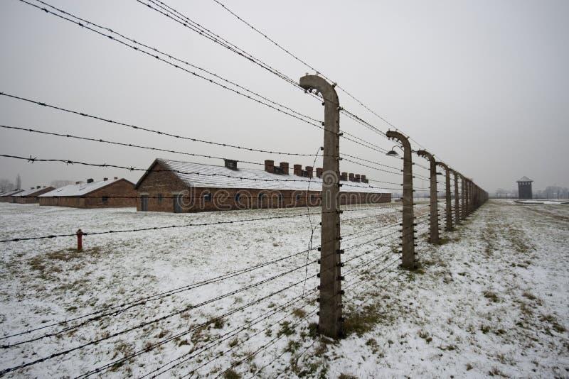 Auschwitz - Birkenau in Polland in winter stock photos