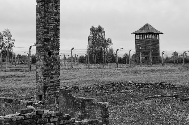 Auschwitz Birkenau. Remains of the barracks, fences and watchtower in the Nazi extermination camp of Auschwitz/Birkenau stock photo