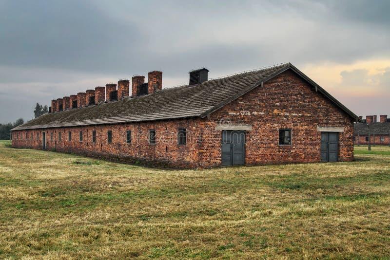 Auschwitz--Birkenaukaserne stockfotos