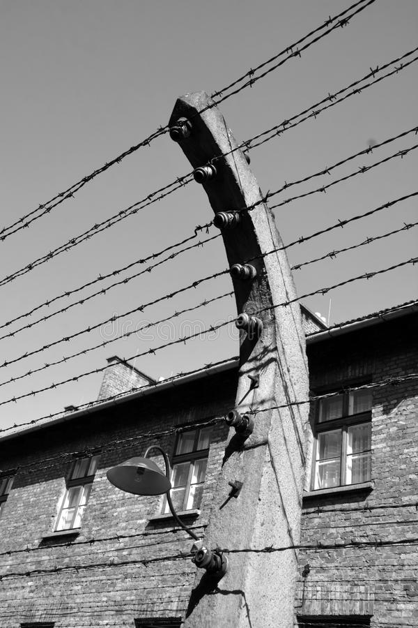 Auschwitz concentration camp fence. AUSCHWITZ BIRKENAU POLAND 09 17 17: Auschwitz concentration camp fence was a network of German Nazi concentration camps and stock photos