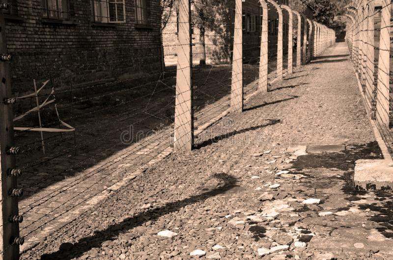 Auschwitz concentration camp fences stock images