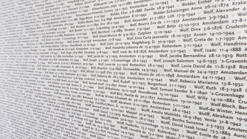 Auschwitz Concentration Camp Museum - Wall with the names of the victims. On the July 7th royalty free stock photo