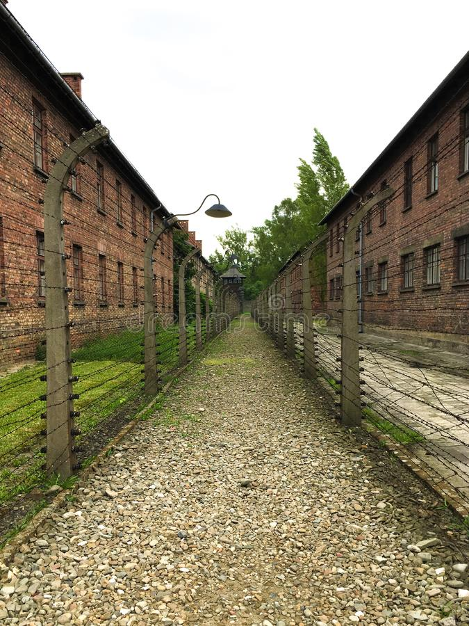 Auschwitz concentration camp with vanish point. Memory, prisoners, violence, execution, extermination, liberation, jews, killed, second, world, war, german stock photos