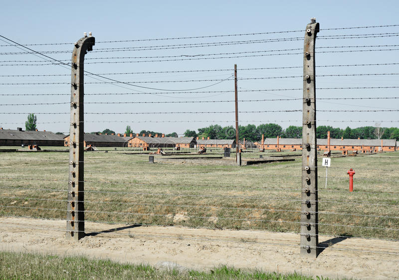 Auschwitz death camp. Classic historical view of Auschwitz death camp in color stock photography