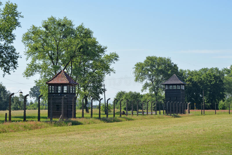 Auschwitz death camp. Classic historical view of Auschwitz death camp in color stock image