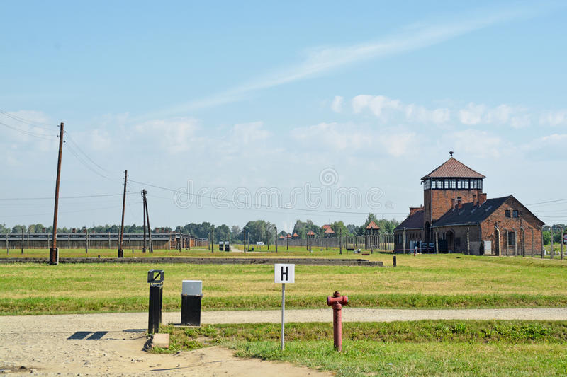 Auschwitz death camp. Classic historical view of Auschwitz death camp in color royalty free stock images