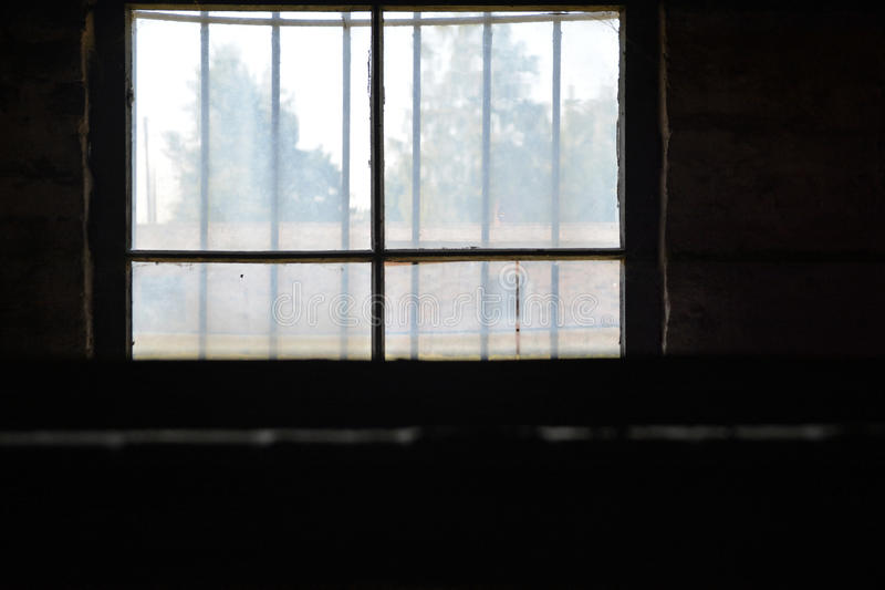 Auschwitz death camp. Classic historical view of Auschwitz death camp in color stock images