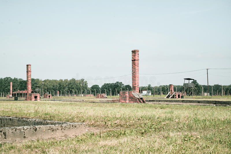 Auschwitz death camp. Classic historical view of Auschwitz death camp in color royalty free stock photography