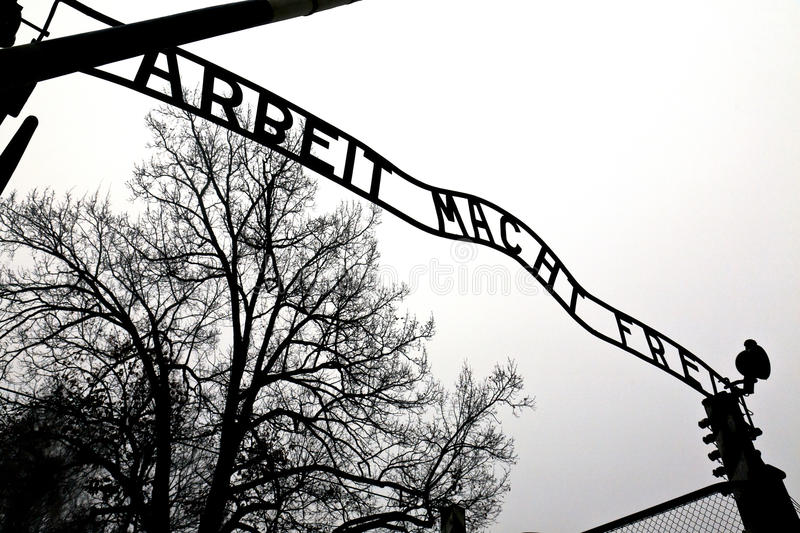 Download Auschwitz entrance gate editorial image. Image of building - 26620790