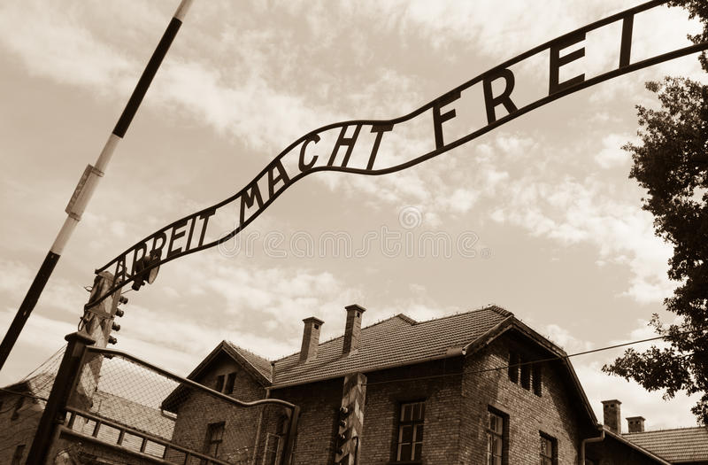 Auschwitz gate royalty free stock photography