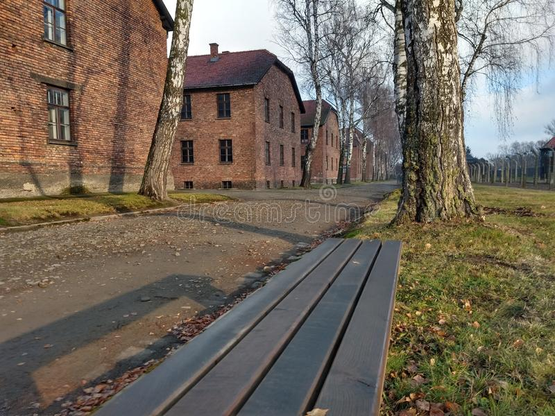 Auschwitz. Houses where the prisoners were tortured and slept in cells stock photos