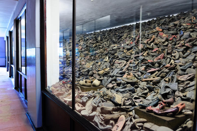 Auschwitz I - Birkenau shoes. OSWIECIM, POLAND - JULY 3, 2009: Auschwitz I - Birkenau, shoes collected from prisoners exhibited in Block 5 as Material Evidence stock images