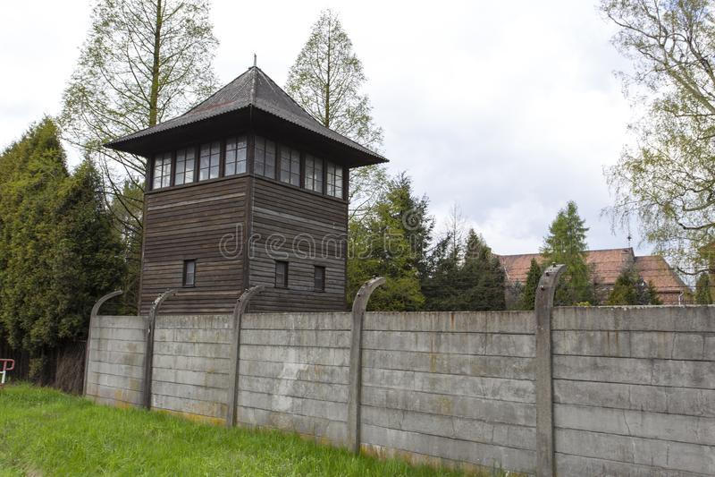Auschwitz I Birkenau watch tower royalty free stock images