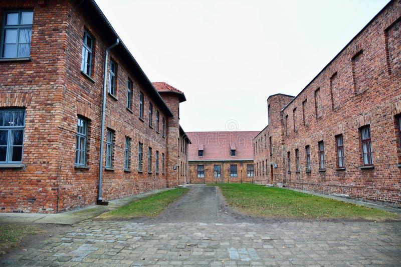 Auschwitz I holocaust herdenkingsmuseum stock afbeelding