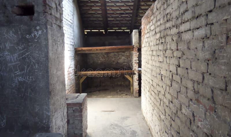 Auschwitz II - Birkenau, barrack - July 6th, 2015 - Krakow, Poland stock photos