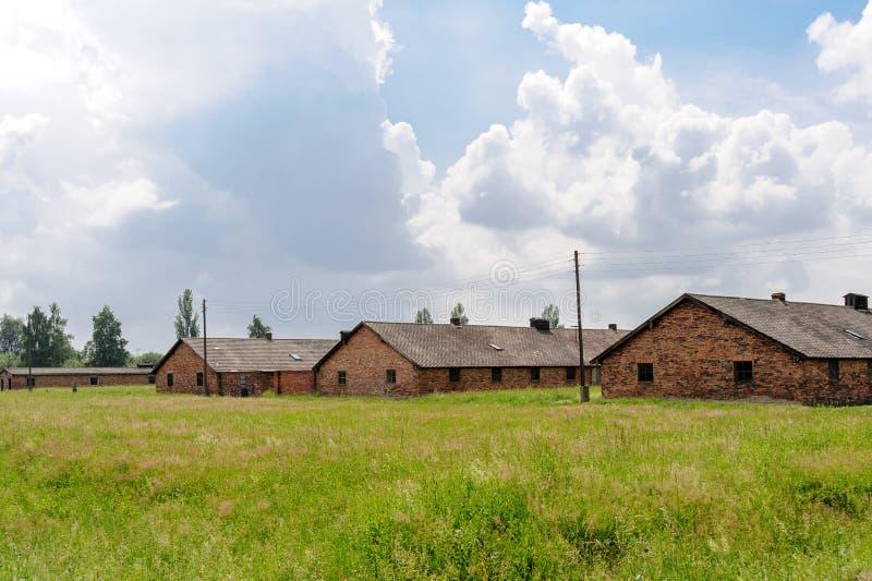 Auschwitz II - Birkenau barracks. Auschwitz II - Birkenau, barracks Blocks 25, 26 and 27 of Sector I royalty free stock photo