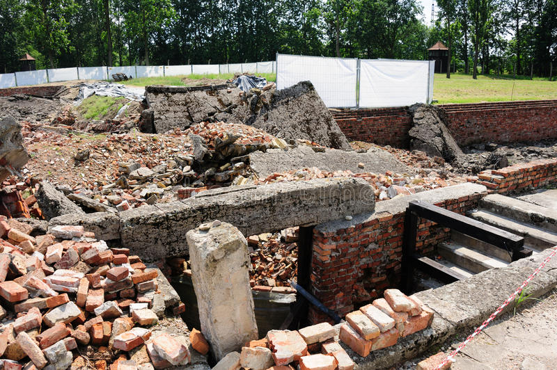 Auschwitz II - Birkenau Crematorium II. Ruins with the underground disrobing chamber on the right and the gas chamber on the far left royalty free stock photography