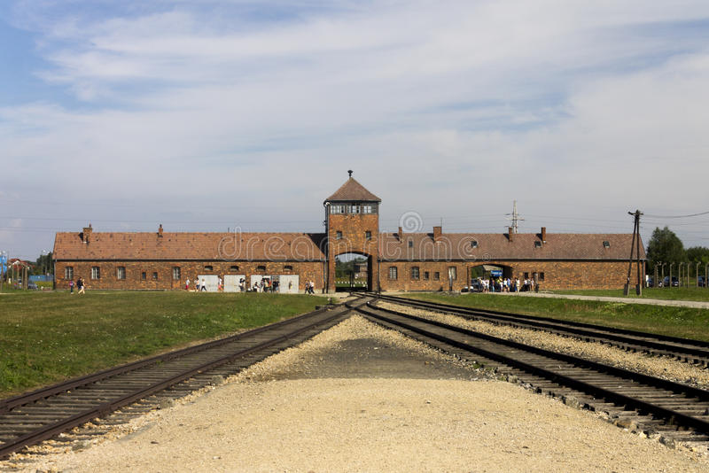 Auschwitz II -Birkenau Extermination camp main entrance. Main entrance of the biggest extermination camp in Europe built by Nazi - Auschwitz Birkenau, Poland royalty free stock photography