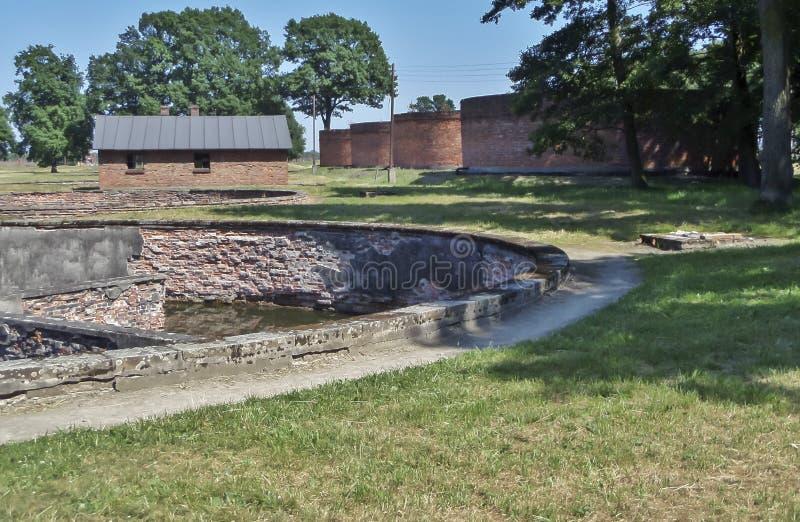 Auschwitz II - Birkenau, huge crematory sylos - July 6th, 2015 - Krakow, Poland stock image