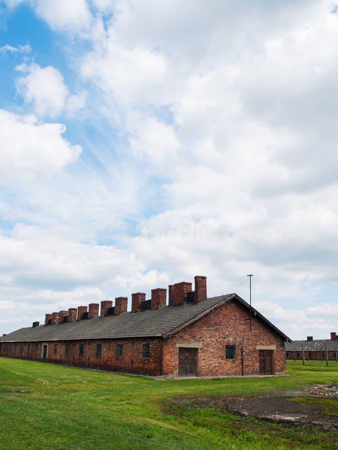 Auschwitz II Birkenau, Polen, 4 November, 2014 - Duitse Nazi Concentration en de uitroeiing kamperen stock foto